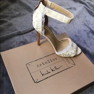 Artelier 'Cocoa' Lace Ankle Strap by Nicole Miller